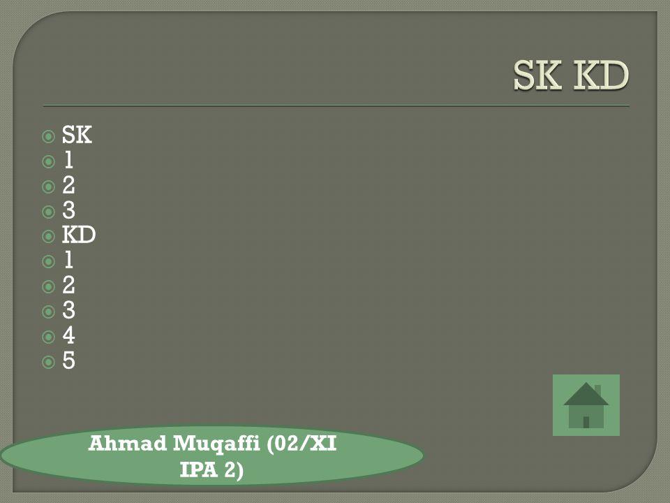  SK 11 22 33  KD 11 22 33 44 55 Ahmad Muqaffi (02/XI IPA 2)