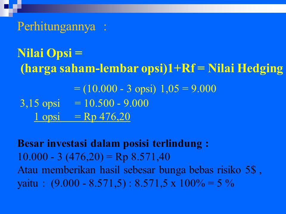 Perhitungannya : Nilai Opsi = (harga saham-lembar opsi)1+Rf = Nilai Hedging = (10.000 - 3 opsi) 1,05 = 9.000 3,15 opsi = 10.500 - 9.000 1 opsi = Rp 476,20 Besar investasi dalam posisi terlindung : 10.000 - 3 (476,20) = Rp 8.571,40 Atau memberikan hasil sebesar bunga bebas risiko 5$, yaitu : (9.000 - 8.571,5) : 8.571,5 x 100% = 5 %