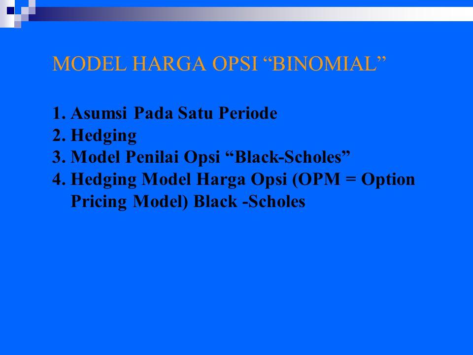 """MODEL HARGA OPSI """"BINOMIAL"""" 1. Asumsi Pada Satu Periode 2. Hedging 3. Model Penilai Opsi """"Black-Scholes"""" 4. Hedging Model Harga Opsi (OPM = Option Pri"""