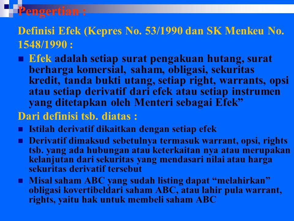 Pengertian : Definisi Efek (Kepres No. 53/1990 dan SK Menkeu No. 1548/1990 : Efek adalah setiap surat pengakuan hutang, surat berharga komersial, saha