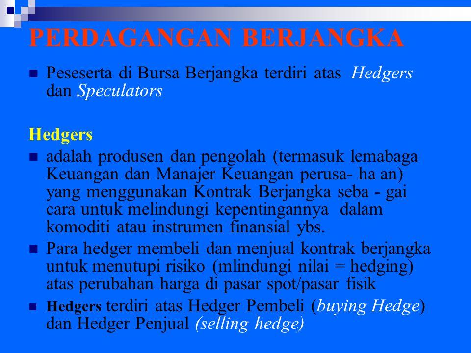 PERDAGANGAN BERJANGKA Peseserta di Bursa Berjangka terdiri atas Hedgers dan Speculators Hedgers adalah produsen dan pengolah (termasuk lemabaga Keuangan dan Manajer Keuangan perusa- ha an) yang menggunakan Kontrak Berjangka seba - gai cara untuk melindungi kepentingannya dalam komoditi atau instrumen finansial ybs.