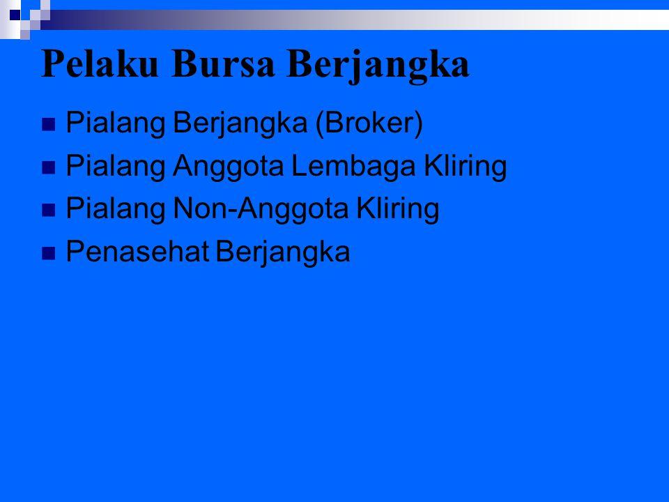 Pelaku Bursa Berjangka Pialang Berjangka (Broker) Pialang Anggota Lembaga Kliring Pialang Non-Anggota Kliring Penasehat Berjangka