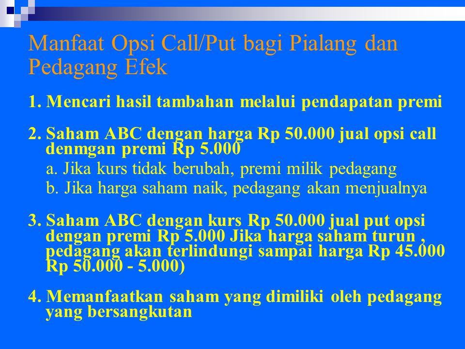 Manfaat Opsi Call/Put bagi Pialang dan Pedagang Efek 1. Mencari hasil tambahan melalui pendapatan premi 2. Saham ABC dengan harga Rp 50.000 jual opsi