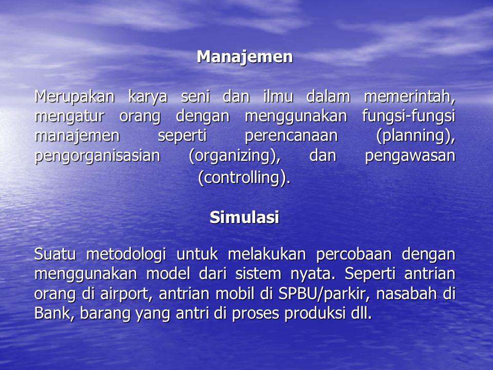 Manajemen Merupakan karya seni dan ilmu dalam memerintah, mengatur orang dengan menggunakan fungsi-fungsi manajemen seperti perencanaan (planning), pe