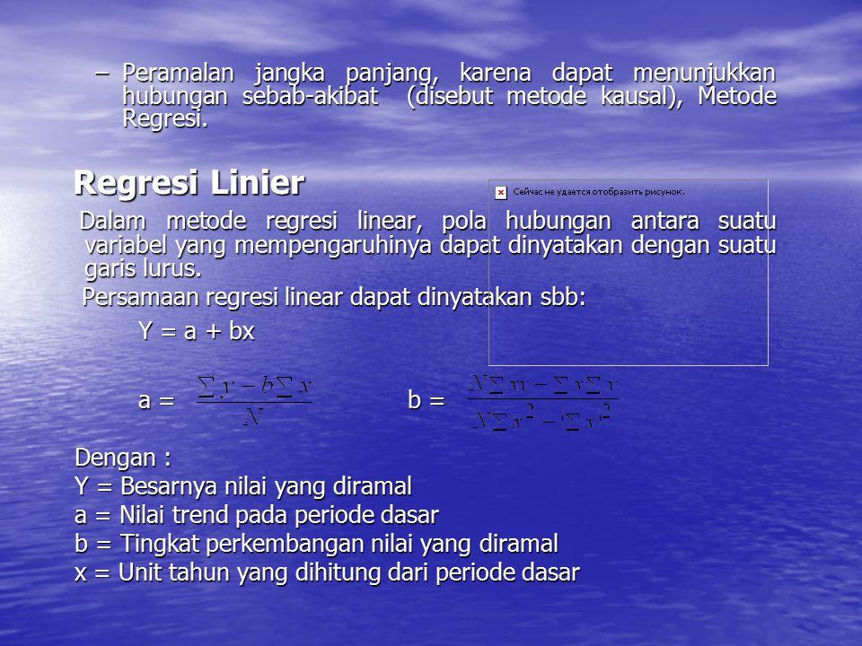–Peramalan jangka panjang, karena dapat menunjukkan hubungan sebab-akibat (disebut metode kausal), Metode Regresi. Regresi Linier Regresi Linier Dalam