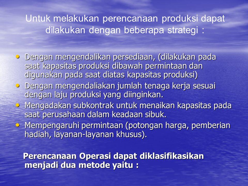Untuk melakukan perencanaan produksi dapat dilakukan dengan beberapa strategi : Dengan mengendalikan persediaan, (dilakukan pada saat kapasitas produk