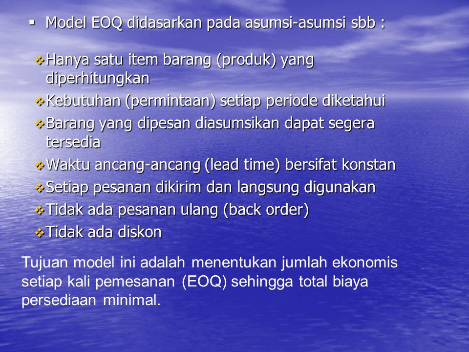  Model EOQ didasarkan pada asumsi-asumsi sbb :  Model EOQ didasarkan pada asumsi-asumsi sbb :  Hanya satu item barang (produk) yang diperhitungkan