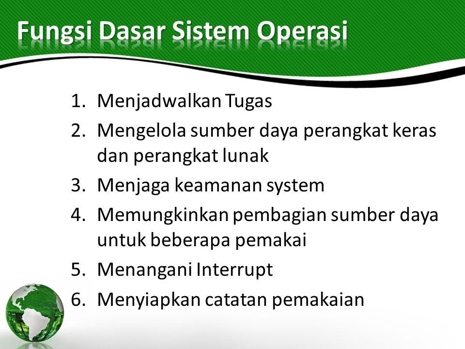 1.Menjadwalkan Tugas 2.Mengelola sumber daya perangkat keras dan perangkat lunak 3.Menjaga keamanan system 4.Memungkinkan pembagian sumber daya untuk