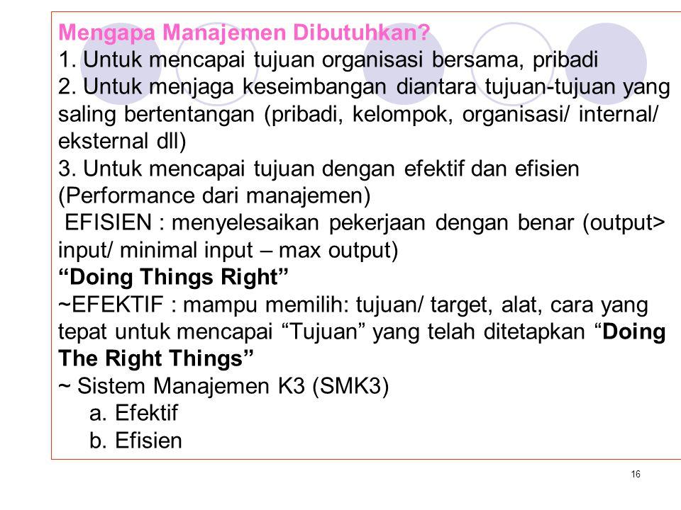 15 SISTEM MANAJEMEN KESELAMATAN DAN KESEHATAN KERJA (SMK3) + KELUARGA (SMK4 ?) @.Manajemen Batasan Umum: suatu cara menggerakkan/ mengajak orang lain