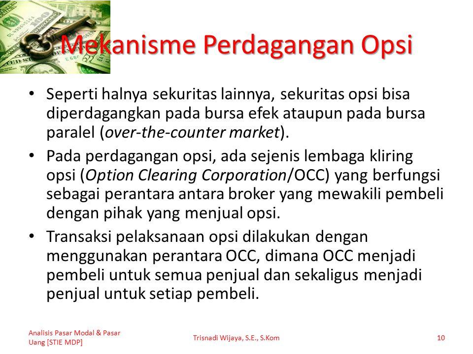 Mekanisme Perdagangan Opsi Seperti halnya sekuritas lainnya, sekuritas opsi bisa diperdagangkan pada bursa efek ataupun pada bursa paralel (over-the-counter market).
