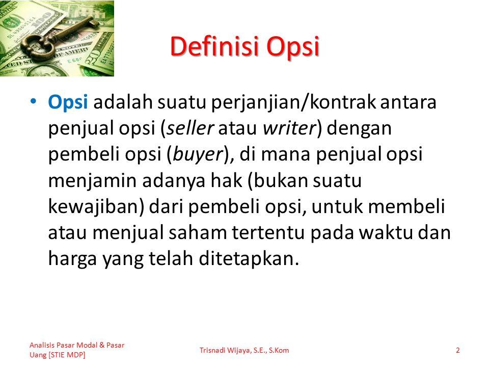 Definisi Opsi Opsi adalah suatu perjanjian/kontrak antara penjual opsi (seller atau writer) dengan pembeli opsi (buyer), di mana penjual opsi menjamin adanya hak (bukan suatu kewajiban) dari pembeli opsi, untuk membeli atau menjual saham tertentu pada waktu dan harga yang telah ditetapkan.