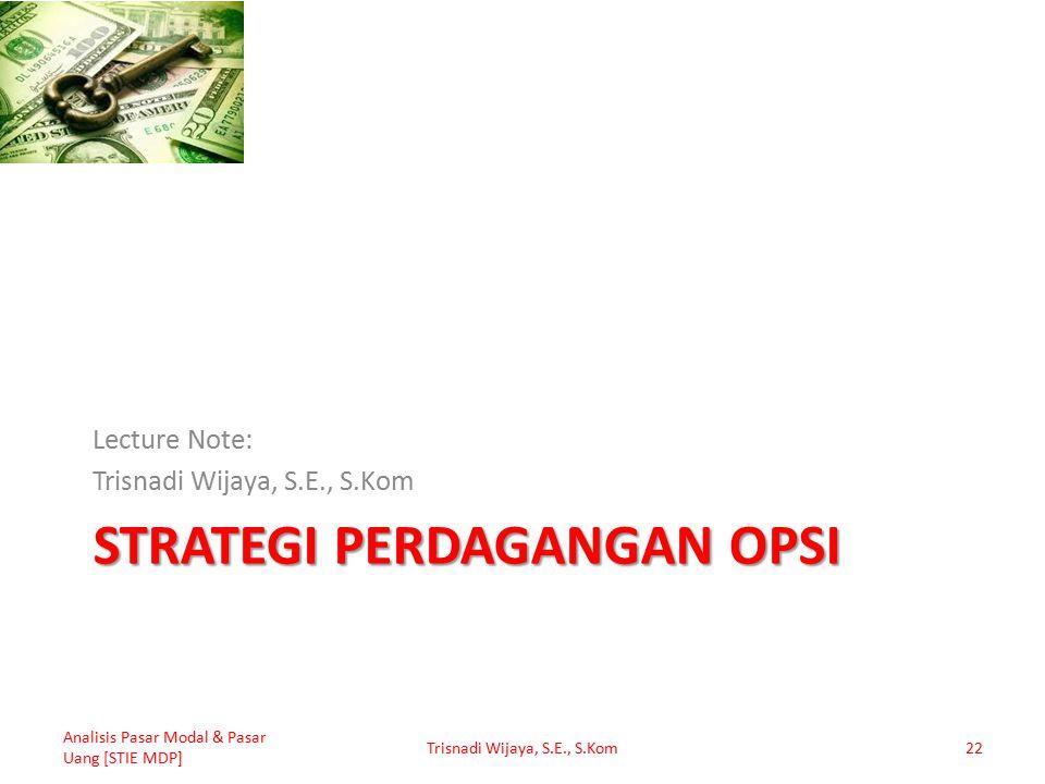 STRATEGI PERDAGANGAN OPSI Lecture Note: Trisnadi Wijaya, S.E., S.Kom Analisis Pasar Modal & Pasar Uang [STIE MDP] Trisnadi Wijaya, S.E., S.Kom22