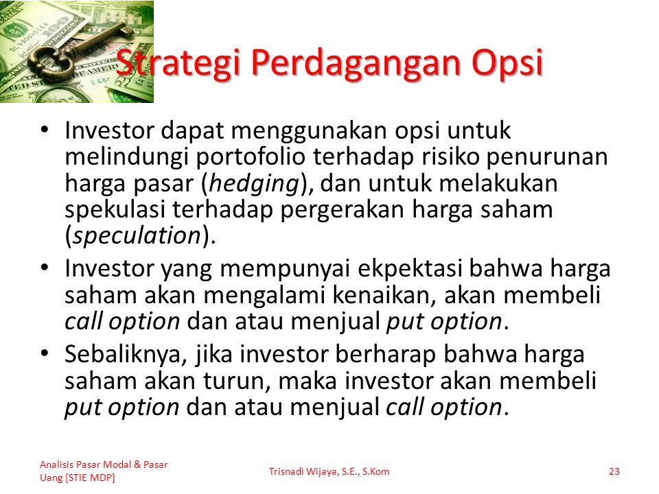 Strategi Perdagangan Opsi Investor dapat menggunakan opsi untuk melindungi portofolio terhadap risiko penurunan harga pasar (hedging), dan untuk melakukan spekulasi terhadap pergerakan harga saham (speculation).