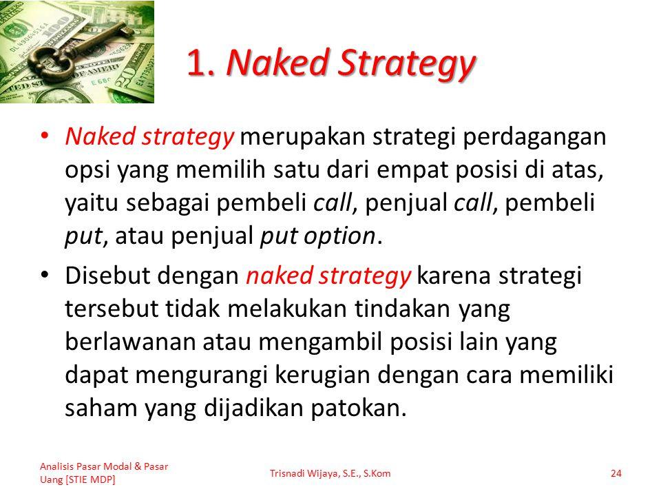 1. Naked Strategy Naked strategy merupakan strategi perdagangan opsi yang memilih satu dari empat posisi di atas, yaitu sebagai pembeli call, penjual