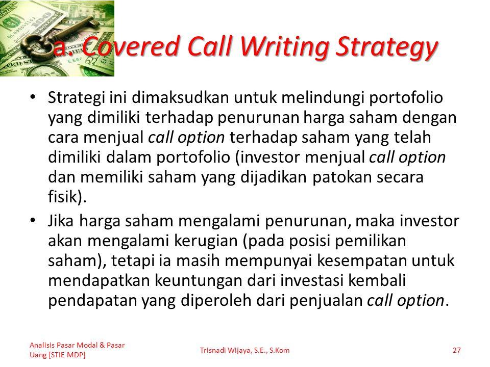 a. Covered Call Writing Strategy Strategi ini dimaksudkan untuk melindungi portofolio yang dimiliki terhadap penurunan harga saham dengan cara menjual