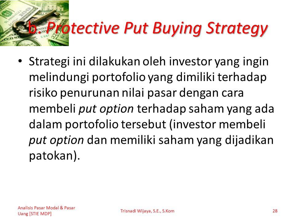 b. Protective Put Buying Strategy Strategi ini dilakukan oleh investor yang ingin melindungi portofolio yang dimiliki terhadap risiko penurunan nilai