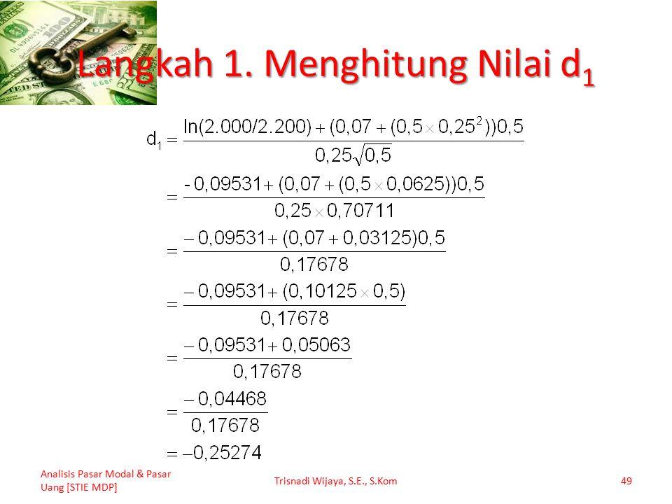 Langkah 1. Menghitung Nilai d 1 Analisis Pasar Modal & Pasar Uang [STIE MDP] Trisnadi Wijaya, S.E., S.Kom49