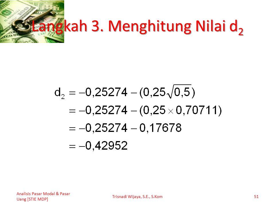 Langkah 3. Menghitung Nilai d 2 Analisis Pasar Modal & Pasar Uang [STIE MDP] Trisnadi Wijaya, S.E., S.Kom51
