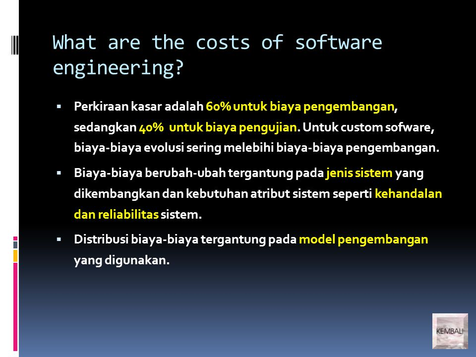 What are the costs of software engineering.