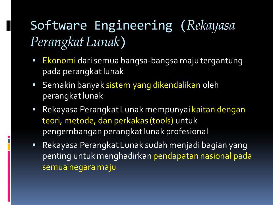 Software Costs ( Biaya-Biaya Perangkat Lunak )  Biaya-biaya perangkat lunak sering mendominasi biaya-biaya sistem.
