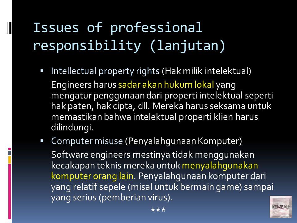 Issues of professional responsibility (lanjutan)  Intellectual property rights (Hak milik intelektual) Engineers harus sadar akan hukum lokal yang me