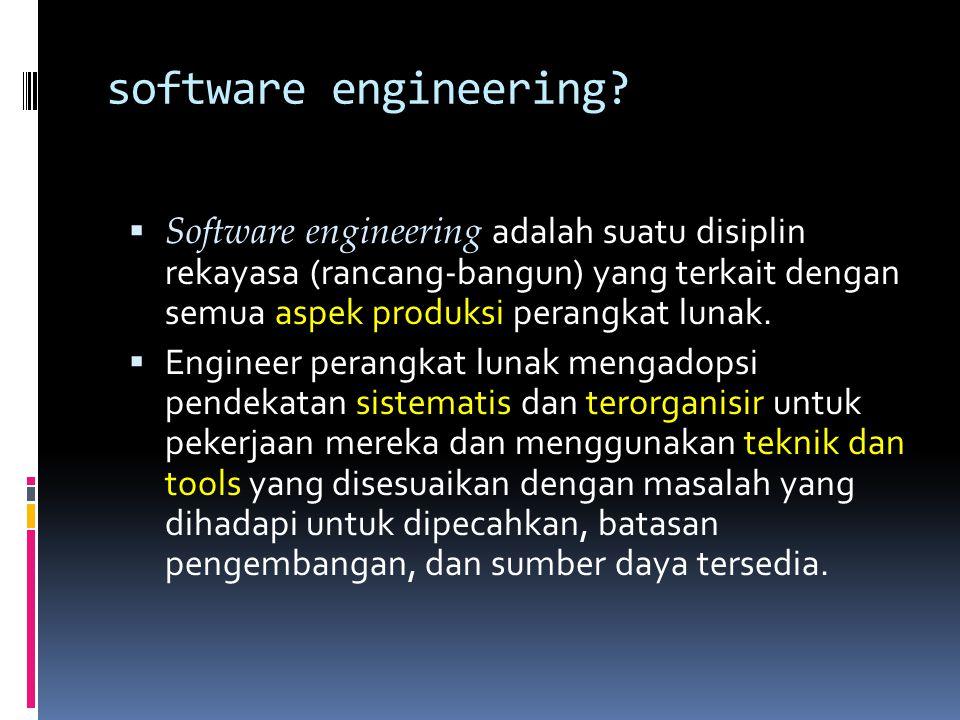 IEEE Definition (IEEE = Institute of Electrical and Electronic Engineers) Software engineering adalah: 1.Aplikasi dari sebuah pendekatan yang bersifat kuantifiabel, disiplin, dan sistematis bagi pengembangan, operasi, dan pemeliharaan perangkat lunak.