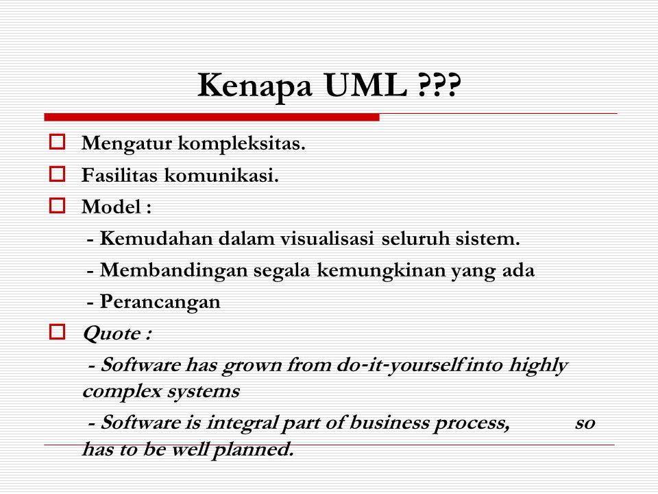 Kenapa UML ???  Mengatur kompleksitas.  Fasilitas komunikasi.  Model : - Kemudahan dalam visualisasi seluruh sistem. - Membandingan segala kemungki