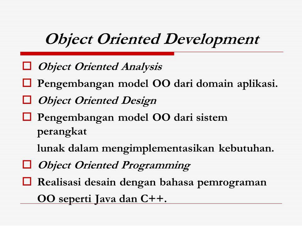 Object dan Object Class  Objek adalah suatu entitas yang memiliki : - Status (atribut) - Behaviour (method)  Komunikasi antar objek dengan message passing.