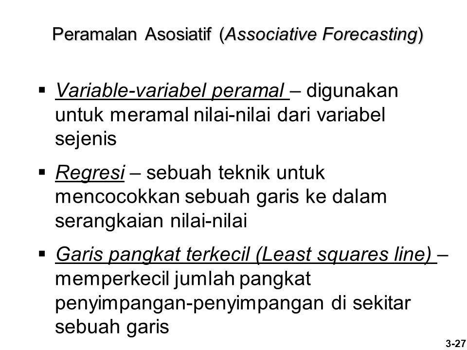 3-27 Peramalan Asosiatif (Associative Forecasting)  Variable-variabel peramal – digunakan untuk meramal nilai-nilai dari variabel sejenis  Regresi –