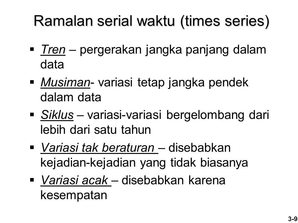 3-9 Ramalan serial waktu (times series)  Tren – pergerakan jangka panjang dalam data  Musiman- variasi tetap jangka pendek dalam data  Siklus – var
