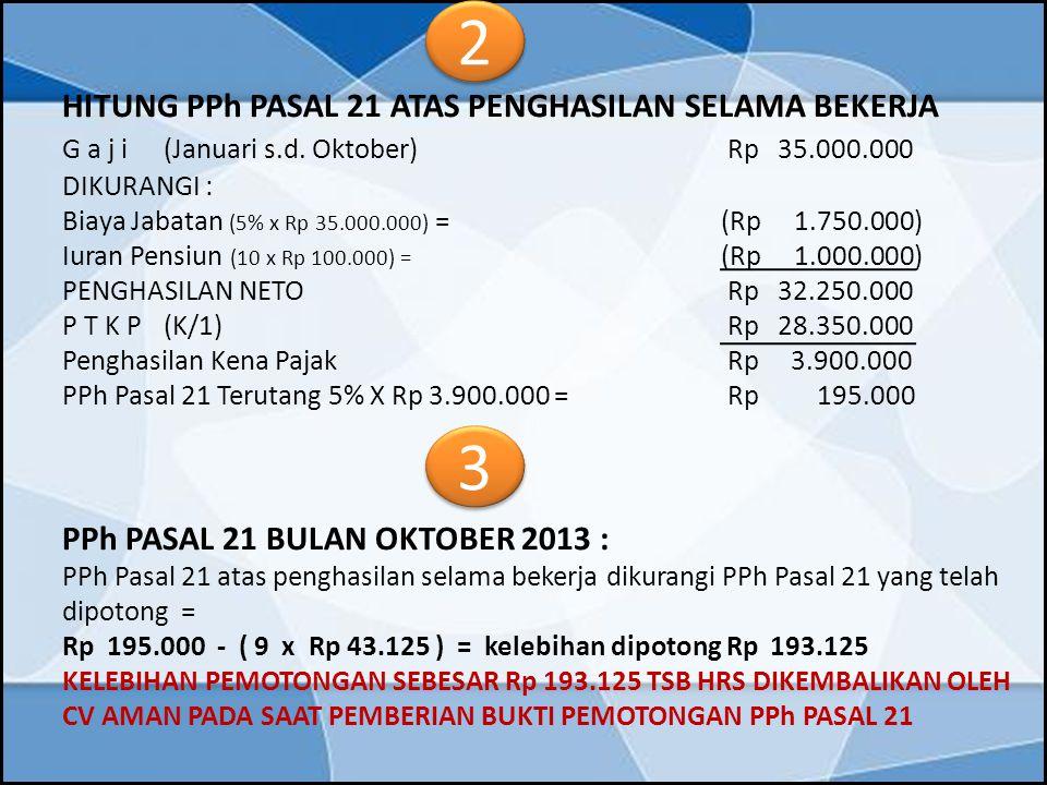 HITUNG PPh PASAL 21 ATAS PENGHASILAN SELAMA BEKERJA G a j i(Januari s.d. Oktober) Rp 35.000.000 DIKURANGI : Biaya Jabatan (5% x Rp 35.000.000) = (Rp 1
