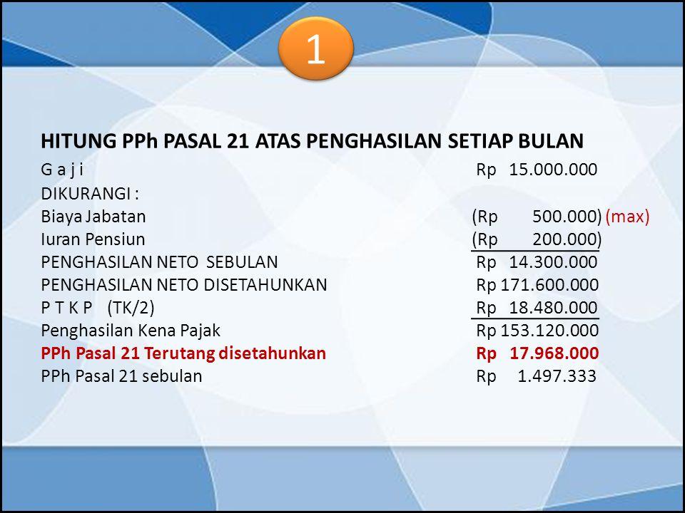 HITUNG PPh PASAL 21 ATAS PENGHASILAN SETIAP BULAN G a j i Rp 15.000.000 DIKURANGI : Biaya Jabatan (Rp 500.000) (max) Iuran Pensiun(Rp 200.000) PENGHAS