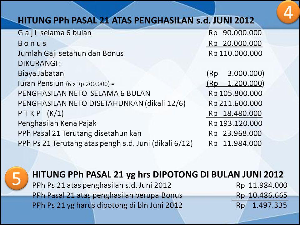 HITUNG PPh PASAL 21 ATAS PENGHASILAN s.d. JUNI 2012 G a j i selama 6 bulan Rp 90.000.000 B o n u s Rp 20.000.000 Jumlah Gaji setahun dan Bonus Rp 110.