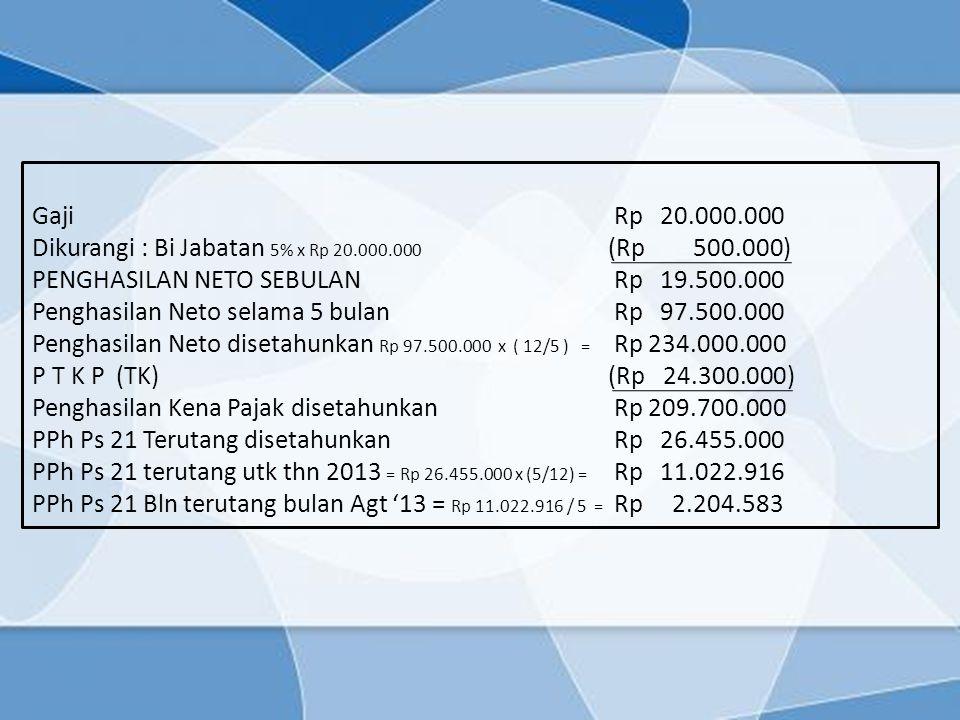 Gaji Rp 20.000.000 Dikurangi : Bi Jabatan 5% x Rp 20.000.000 (Rp 500.000) PENGHASILAN NETO SEBULAN Rp 19.500.000 Penghasilan Neto selama 5 bulan Rp 97