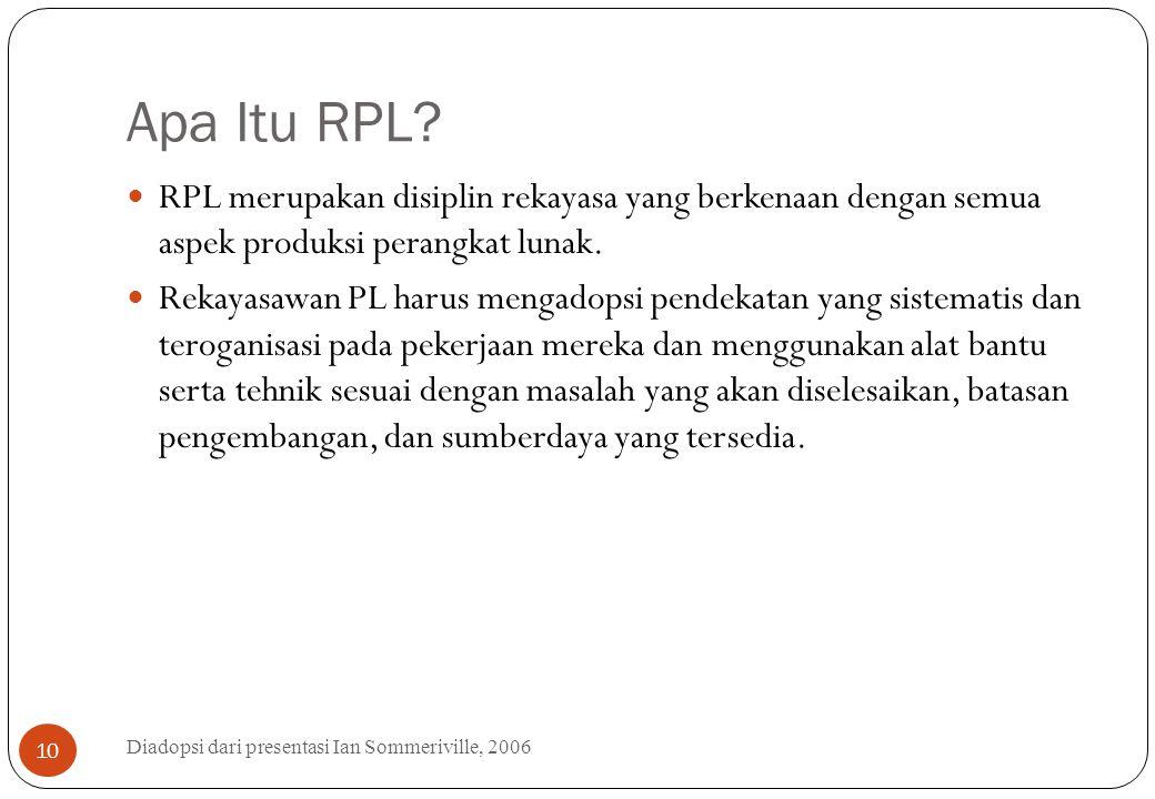 Apa Itu RPL? Diadopsi dari presentasi Ian Sommeriville, 2006 10 RPL merupakan disiplin rekayasa yang berkenaan dengan semua aspek produksi perangkat l