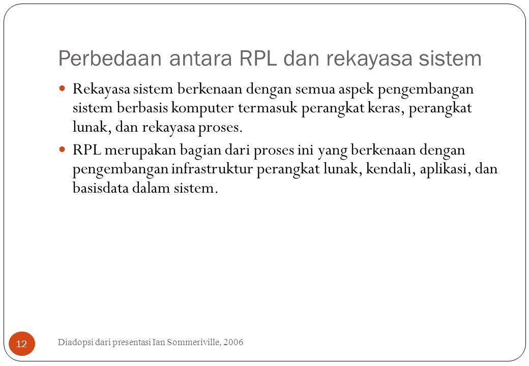 Perbedaan antara RPL dan rekayasa sistem Diadopsi dari presentasi Ian Sommeriville, 2006 12 Rekayasa sistem berkenaan dengan semua aspek pengembangan