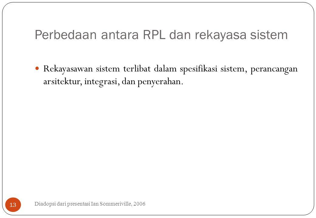 Perbedaan antara RPL dan rekayasa sistem Diadopsi dari presentasi Ian Sommeriville, 2006 13 Rekayasawan sistem terlibat dalam spesifikasi sistem, pera