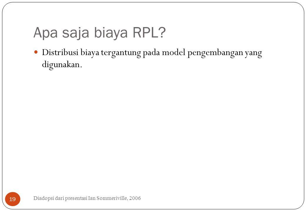 Apa saja biaya RPL? Diadopsi dari presentasi Ian Sommeriville, 2006 19 Distribusi biaya tergantung pada model pengembangan yang digunakan.