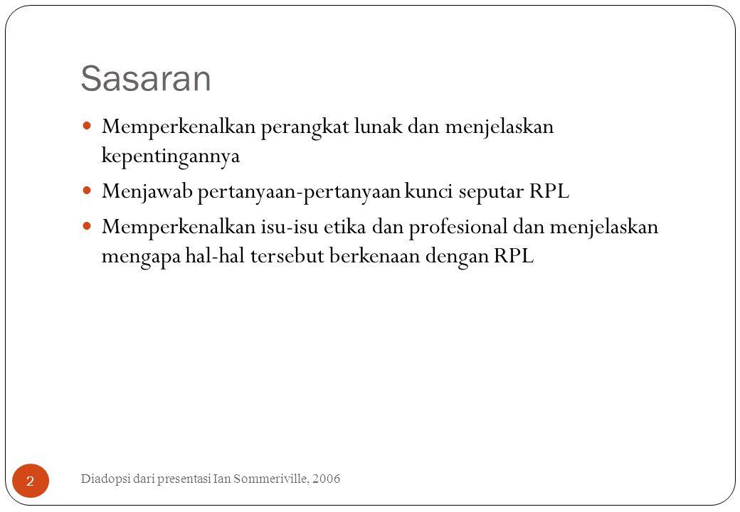 Sasaran Diadopsi dari presentasi Ian Sommeriville, 2006 2 Memperkenalkan perangkat lunak dan menjelaskan kepentingannya Menjawab pertanyaan-pertanyaan
