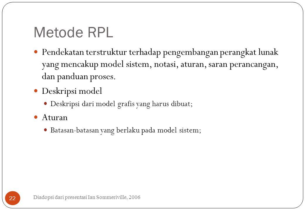 Metode RPL Diadopsi dari presentasi Ian Sommeriville, 2006 22 Pendekatan terstruktur terhadap pengembangan perangkat lunak yang mencakup model sistem,