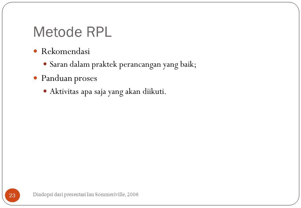 Metode RPL Diadopsi dari presentasi Ian Sommeriville, 2006 23 Rekomendasi Saran dalam praktek perancangan yang baik; Panduan proses Aktivitas apa saja
