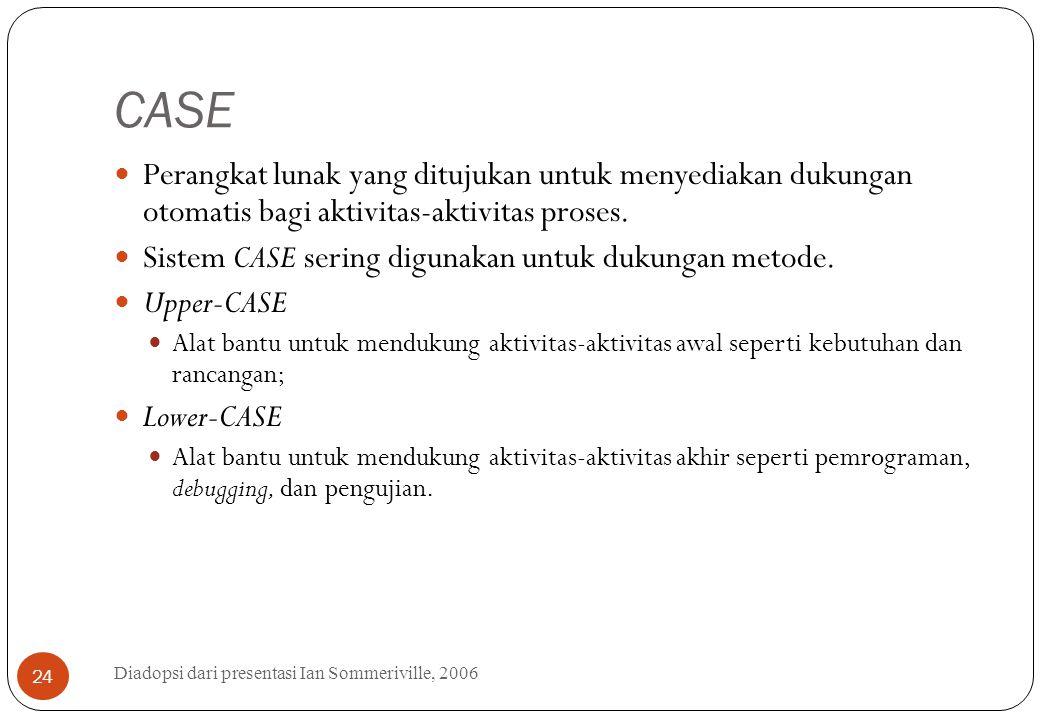 CASE Diadopsi dari presentasi Ian Sommeriville, 2006 24 Perangkat lunak yang ditujukan untuk menyediakan dukungan otomatis bagi aktivitas-aktivitas pr