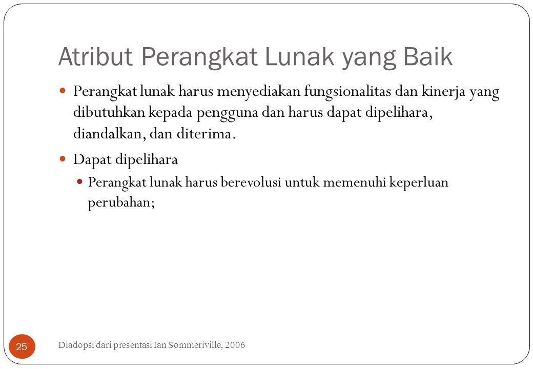 Atribut Perangkat Lunak yang Baik Diadopsi dari presentasi Ian Sommeriville, 2006 25 Perangkat lunak harus menyediakan fungsionalitas dan kinerja yang