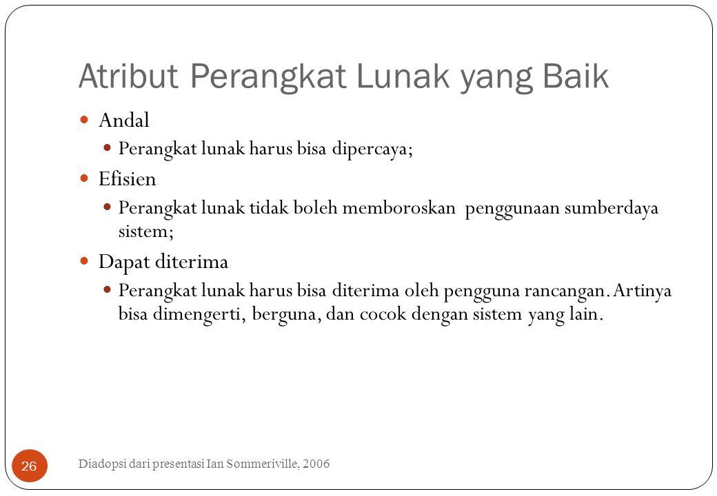 Atribut Perangkat Lunak yang Baik Diadopsi dari presentasi Ian Sommeriville, 2006 26 Andal Perangkat lunak harus bisa dipercaya; Efisien Perangkat lun