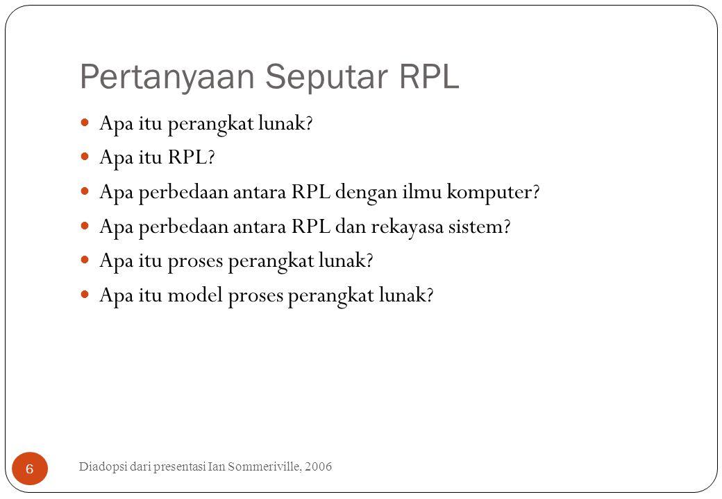 Pertanyaan Seputar RPL Diadopsi dari presentasi Ian Sommeriville, 2006 6 Apa itu perangkat lunak? Apa itu RPL? Apa perbedaan antara RPL dengan ilmu ko