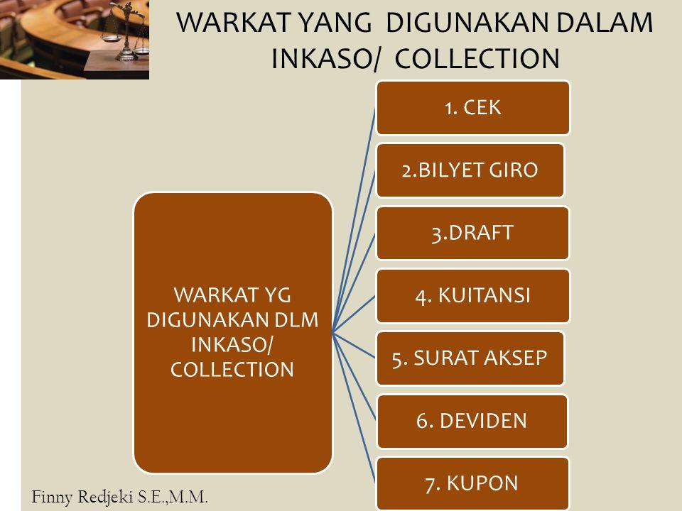 Inkaso/ Collection WARKAT YANG DIGUNAKAN DALAM INKASO/ COLLECTION WARKAT YG DIGUNAKAN DLM INKASO/ COLLECTION 1. CEK2.BILYET GIRO3.DRAFT4. KUITANSI5. S