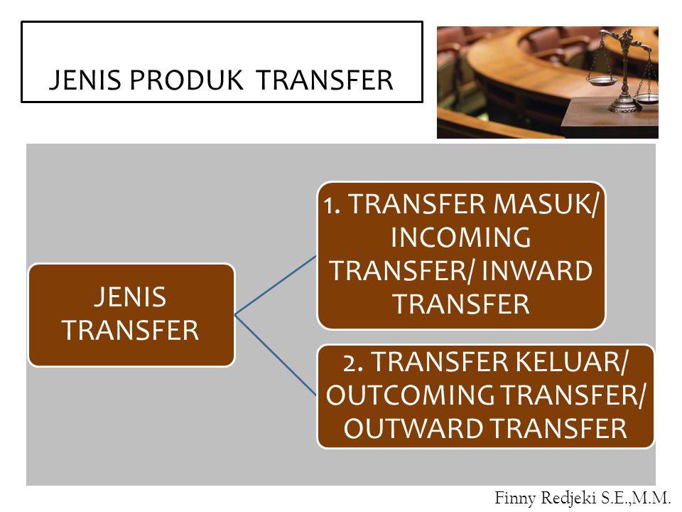 JENIS PRODUK TRANSFER JENIS TRANSFER 1.TRANSFER MASUK/ INCOMING TRANSFER/ INWARD TRANSFER 2.