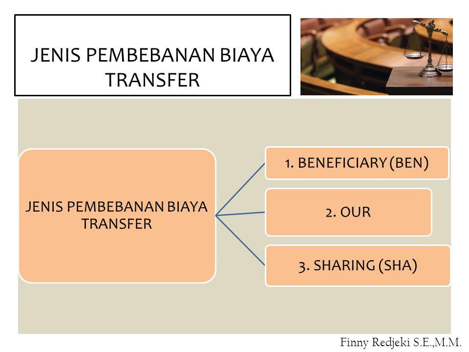 JENIS PEMBEBANAN BIAYA TRANSFER 1. BENEFICIARY (BEN) 2. OUR 3. SHARING (SHA) Finny Redjeki S.E.,M.M.