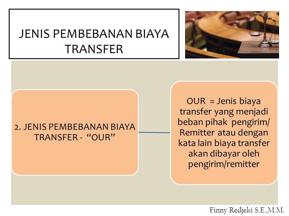 """JENIS PEMBEBANAN BIAYA TRANSFER 2. JENIS PEMBEBANAN BIAYA TRANSFER - """"OUR"""" OUR = Jenis biaya transfer yang menjadi beban pihak pengirim/ Remitter atau"""