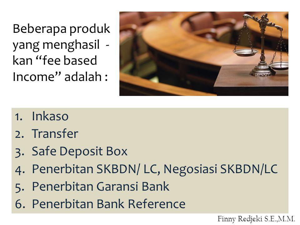 1.Inkaso 2.Transfer 3.Safe Deposit Box 4.Penerbitan SKBDN/ LC, Negosiasi SKBDN/LC 5.Penerbitan Garansi Bank 6.Penerbitan Bank Reference Beberapa produk yang menghasil - kan fee based Income adalah : Finny Redjeki S.E.,M.M.